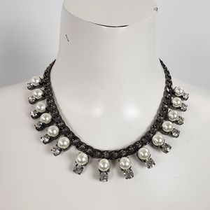 Black Chain White Pearls with Rhinestones Necklace